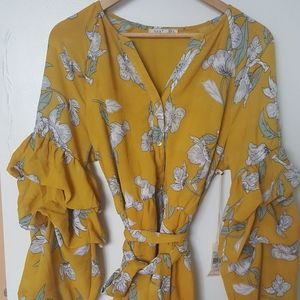 DEX Golden Spring Print Dress